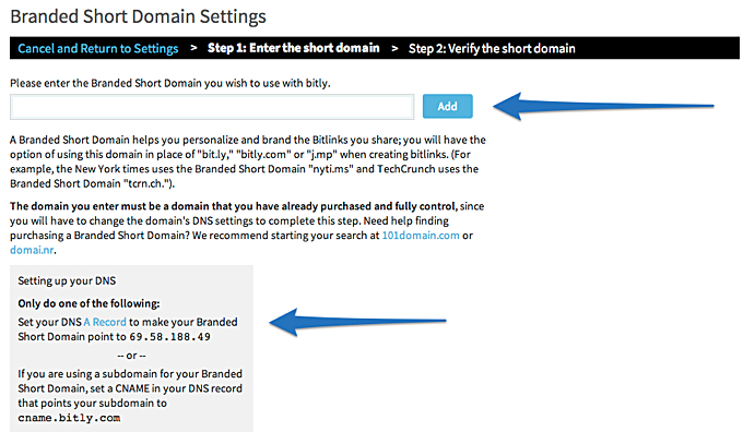 MWGblog Short Domain Bitly Settings